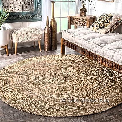 Jai Shri Shyam Jute Braided Rug/Carpet/Handmade Floor Rug 120cm