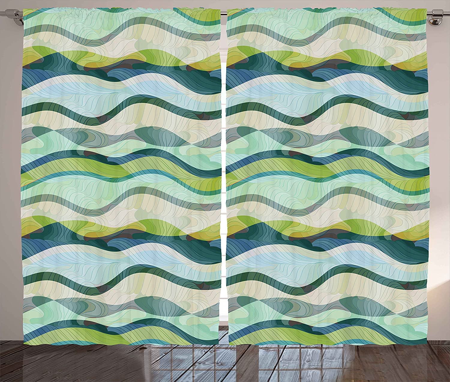 Ambesonne Ocean Curtains, Wavy Shapes Abstract Design Ombre Like Sea Themed Colored Image, Living Room Bedroom Window Drapes 2 Panel Set, 108W X 84L inches, Sea Foam Pale Green and Olive Green
