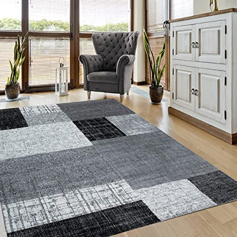 VIMODA Teppich Wohnzimmer Kurzflor Designer Teppiche in Schwarz Grau Weiß  Kachel-Optik Kariert Pflegeleicht, Maße:120x170 cm