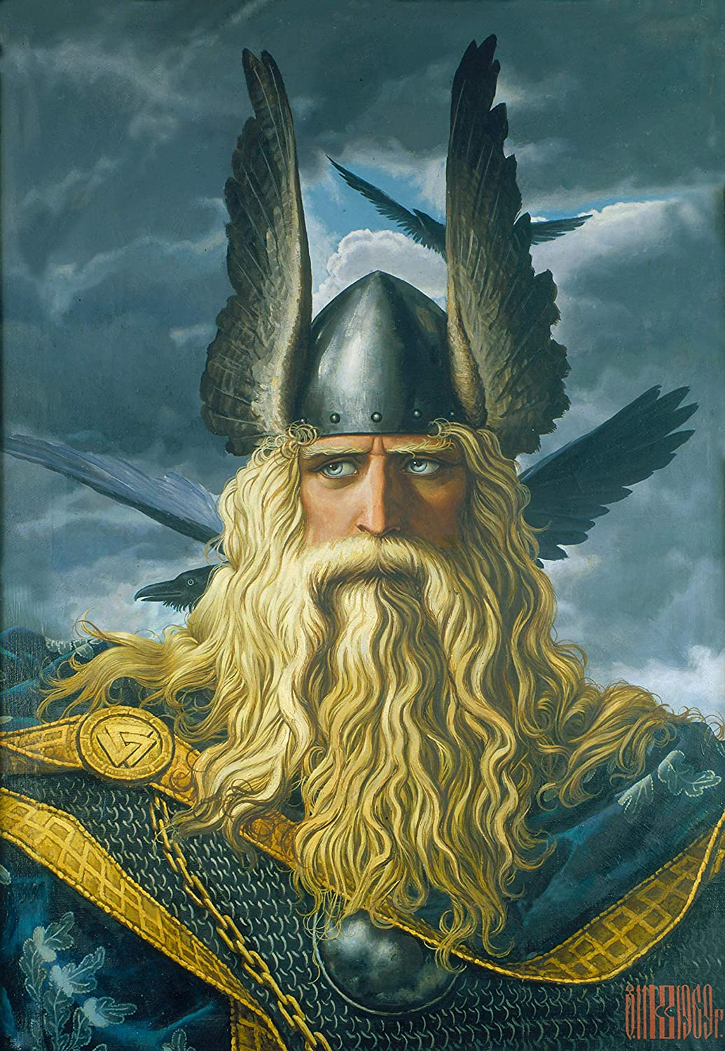 FRAMED Norse God Odin Canvas Wall Art Decoration | Norse