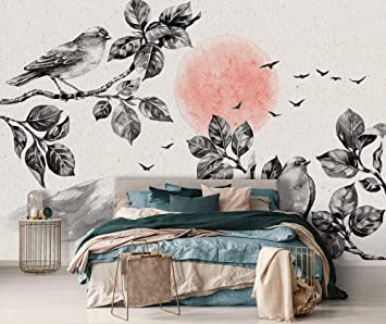 Dawn Birds Self Adhesive Wallpaper Chinoiserie Wallpaper Old Paper Wall Art Vintage Removable Wallpaper Peel And Stick Wallpaper Amazon Co Uk Diy Tools