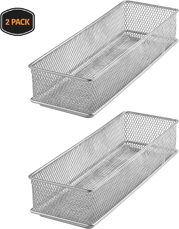 YBM HOME Silver Mesh Drawer Cabinet and or Shelf Organizer Bins, School Supply Holder Office Desktop Organizer Basket 1593s-2 (2, 3x9x2 Inch)
