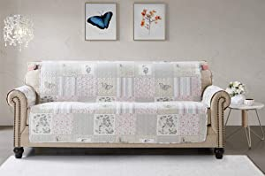 """Sofa Protector Slipcover 70"""" for 3 Seat Couch Soft Patchwork Furniture Cover Patterned Floral Print Reversible Quilted Scroll Layers, Strap, Machine Wash Arm Chair Slipcover Not Leather, Pink/Grey"""