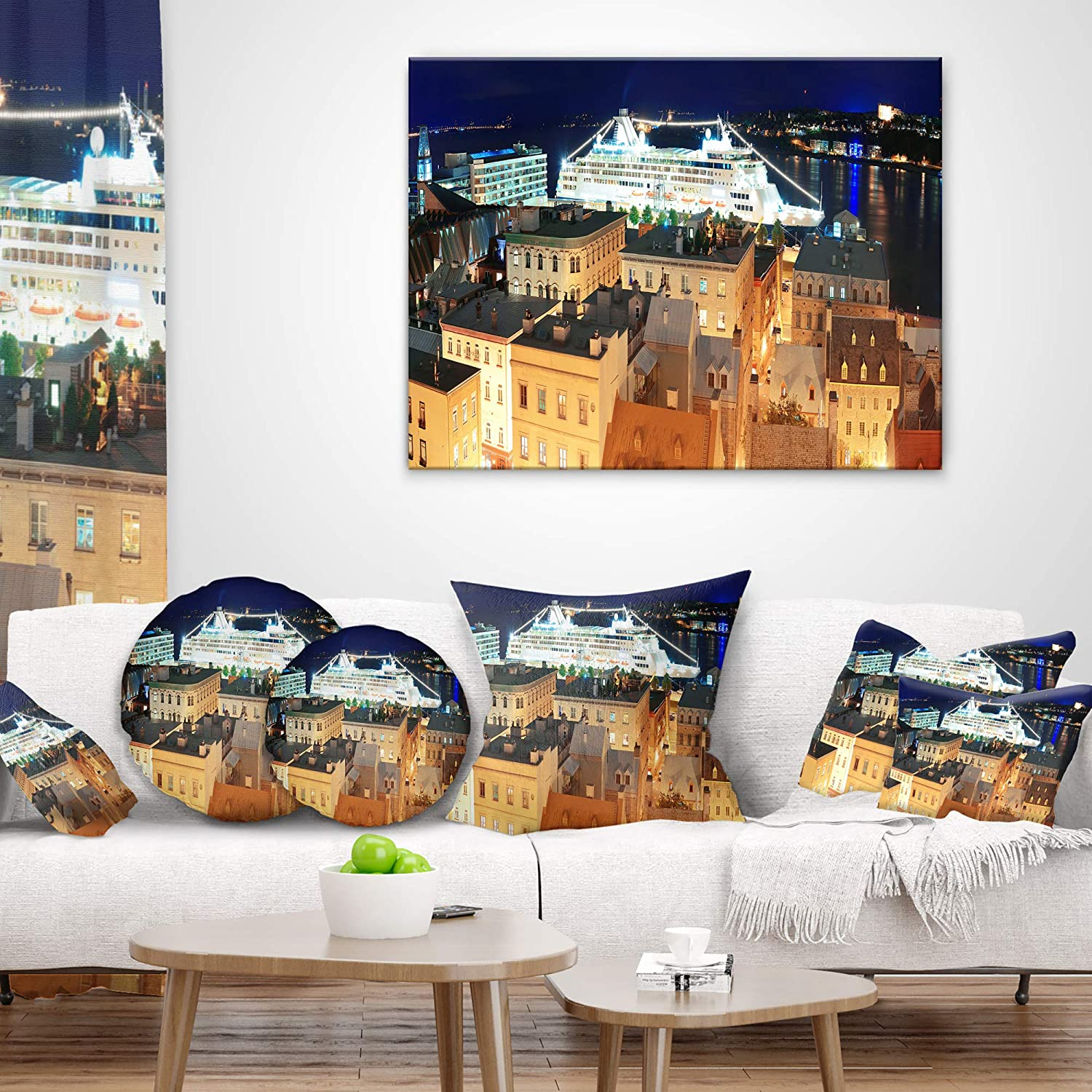 in x 20 in Insert Printed On Both Side Sofa Throw Pillow 12 in Designart CU7340-12-20 Quebec City Cityscape Photo Lumbar Cushion Cover for Living Room