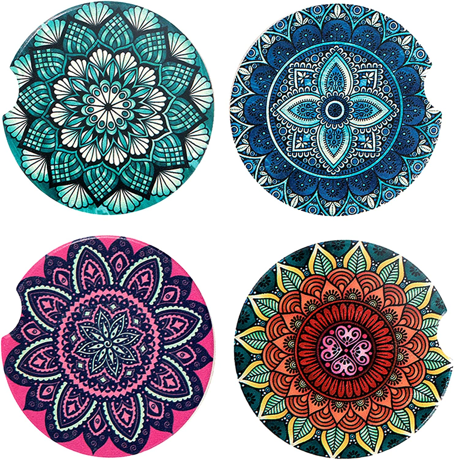 Amazon Com 4 Pack Car Coasters Ceramic Coasters Mandala Styles Coaster Sets With Absorbent Stone Auto Cup Holder Coasters For Women Men Drinks Car Accessories Small 2 56 Mandala Kitchen Dining