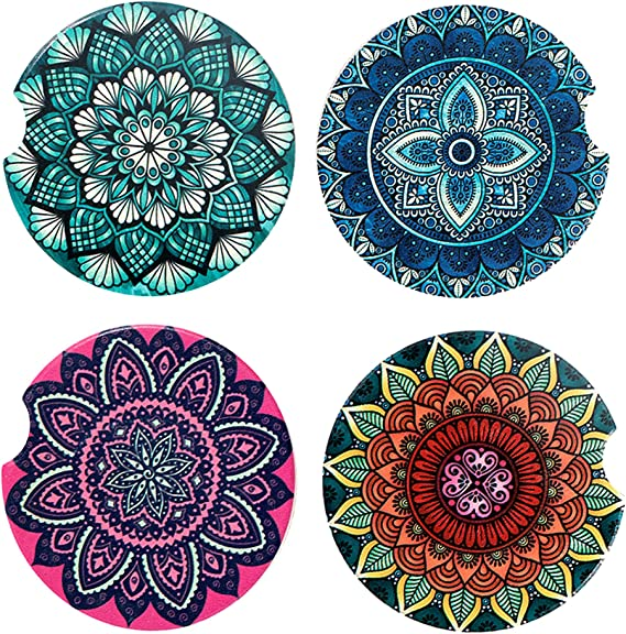 Tupalatus Set of 2 Pieces Mandala Lotus Print Auto Cup Holder All Weather Keep Car Clean and Dry Car Coasters for Bar Kitchen Office Auto Decor Accessories,Purple
