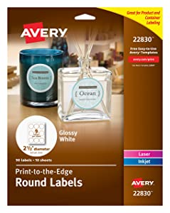 "Avery Round Labels for Laser & Inkjet Printers, 2.5"", 90 Glossy White Labels (22830)"