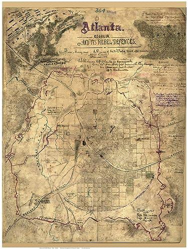 City Map Of Atlanta Georgia.Amazon Com Atlanta Georgia 1864 Civil War City Map By Sneden