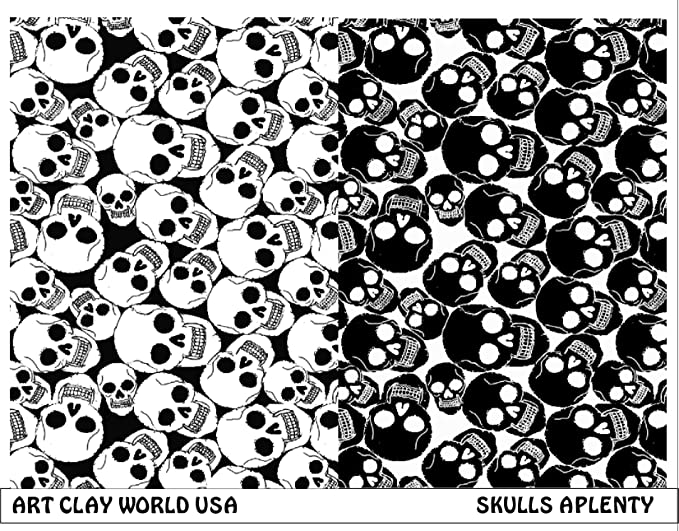 Commas and Far Out 10in x 2in Each of Skulls Retrochip Retro Rebel Full Length Low Relief Texture Sheet