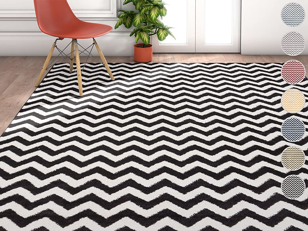 "Wandering Chevron Black Zig Zag Modern Casual Geometric Area Rug 5x7 ( 53"" x 73"" ) Easy to Clean Stain Fade Resistant Shed Free Contemporary Abstract Funky Fun Shapes Lines Living Dining Room Rug"