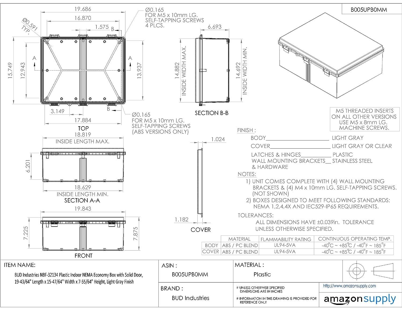 19-43//64 Length x 15-47//64 Width x 7-55//64 Height BUD Industries NBF-32134 Plastic Indoor NEMA Economy Box with Solid Door Light Gray Finish 19-43//64 Length x 15-47//64 Width x 7-55//64 Height