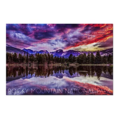 Rocky Mountain National Park, Colorado - Sunset and Sprague Lake (Premium 1000 Piece Jigsaw Puzzle for Adults, 20x30, Made in USA!): Toys & Games