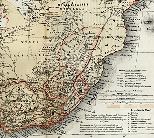 19th Century Africa Map.Amazon Com South Africa Afrika European Colonies Overland Routes C