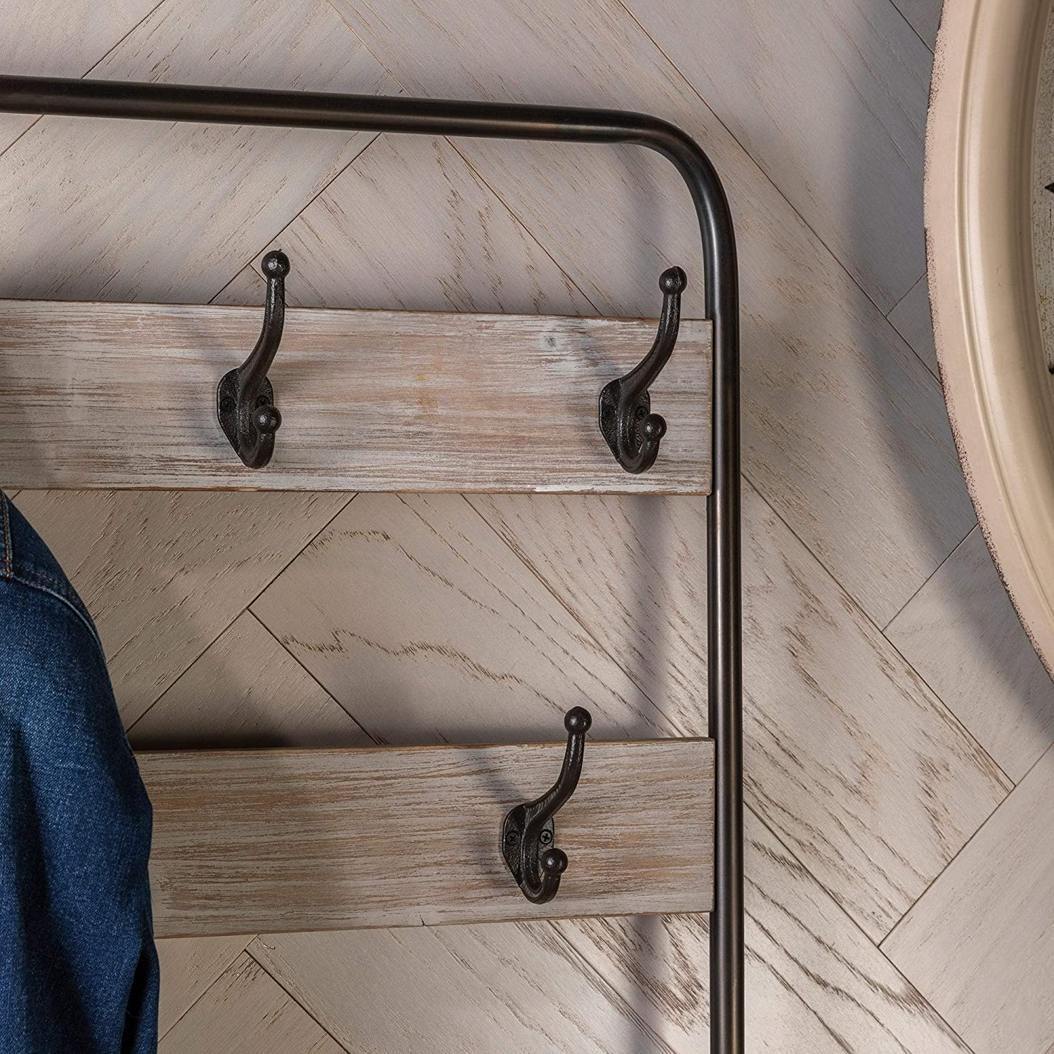 Industrial Wood and Metal Hall Tree Bench with Hooks Black Farmhouse Natural Finish Storage