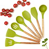 Wood Handle Silicone Spatula Utensil Set - 7 Natural Acacia Wood and Silicone Kitchen Utensils for Cooking - Nonstick Kitchen Gadgets - Heat Resistant Wooden Tools - Set includes Spoons, Spatula