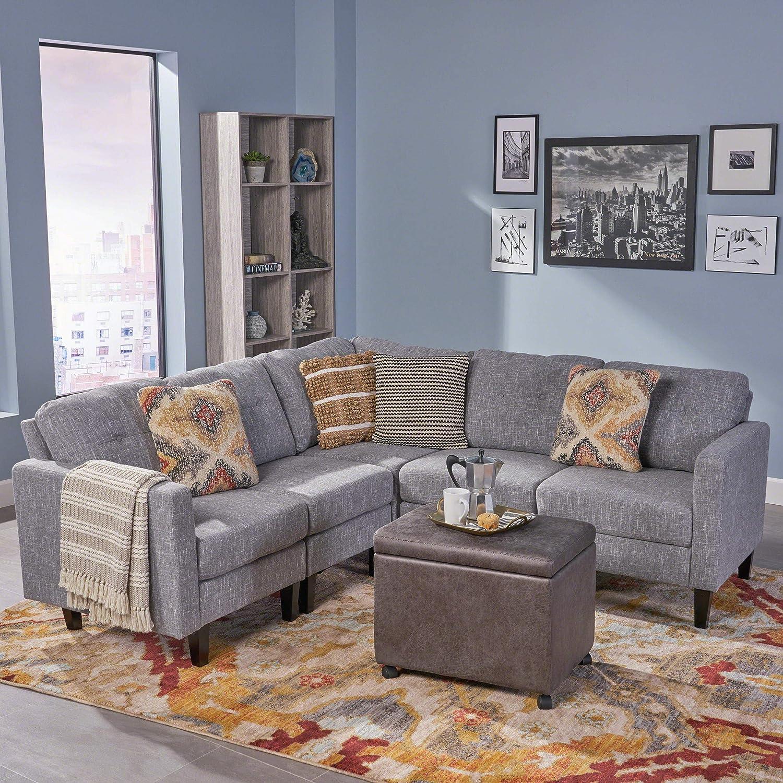 christopher knight home marsh mid century modern sectional sofa set gray tweed dark brown