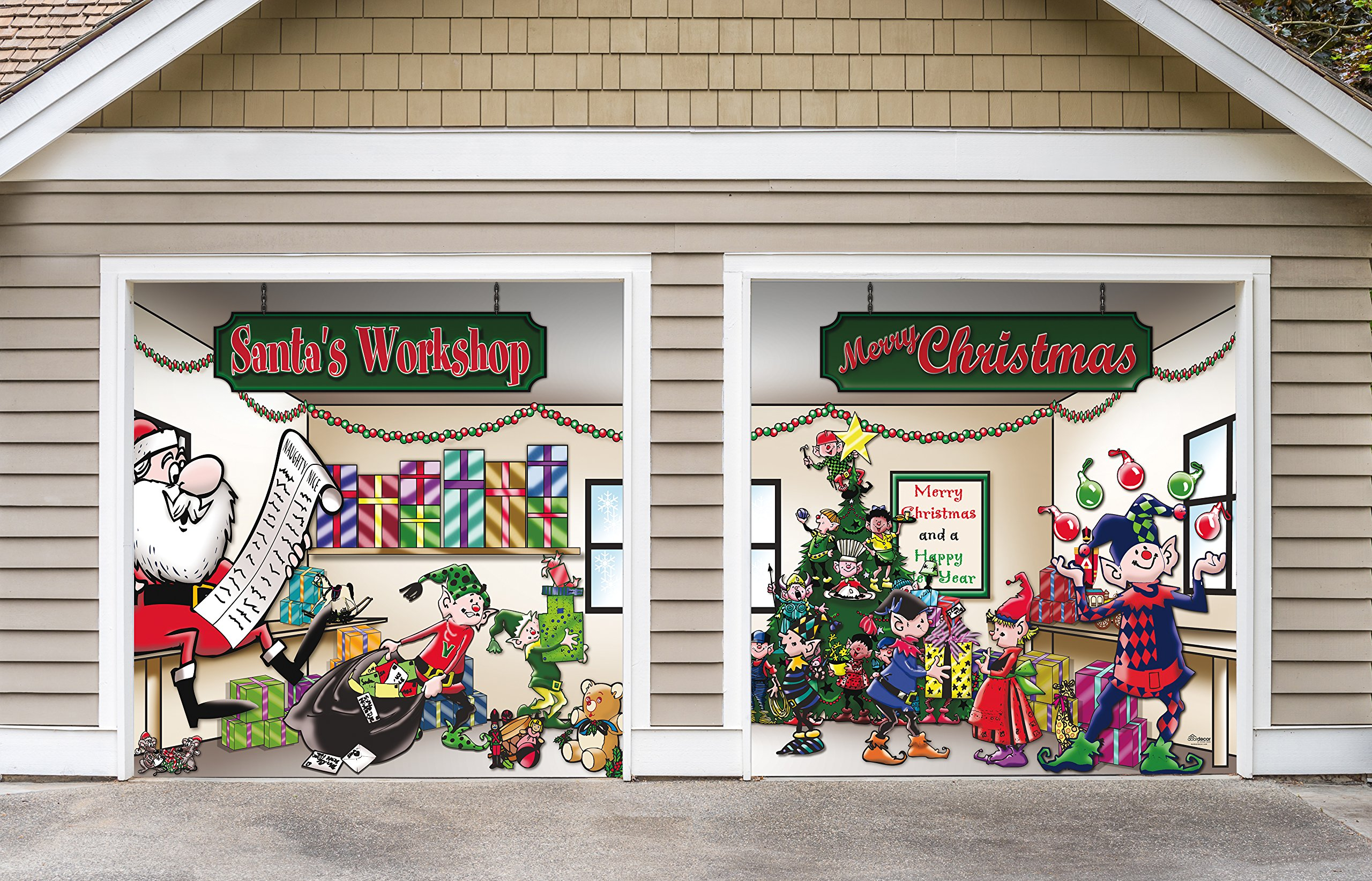 Outdoor Christmas Holiday Garage Door Banner Cover Mural Décoration - Santa's Workshop - Outdoor Holiday 2 Car Split Garage Door Banner Décor Sign , Two 7'x 8' Graphic Kits