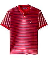 Nautica Men's Short Sleeve Striped Henley Collar Polo Shirt