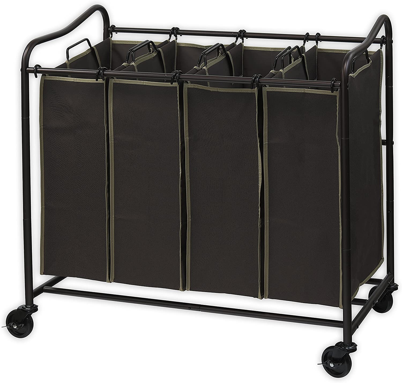 Simplehouseware 4-Bag Heavy Duty Laundry Sorter Rolling Cart, Brown