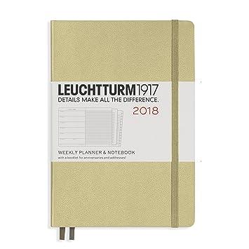 Planificador semanal y cuaderno 2018 Leuchtturm1917, en inglés, color arena Mediano (A5)