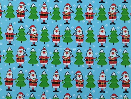 BLUE CHRISTMAS PENGUIN POLYCOTTON FABRIC 112cm WIDE//METRE
