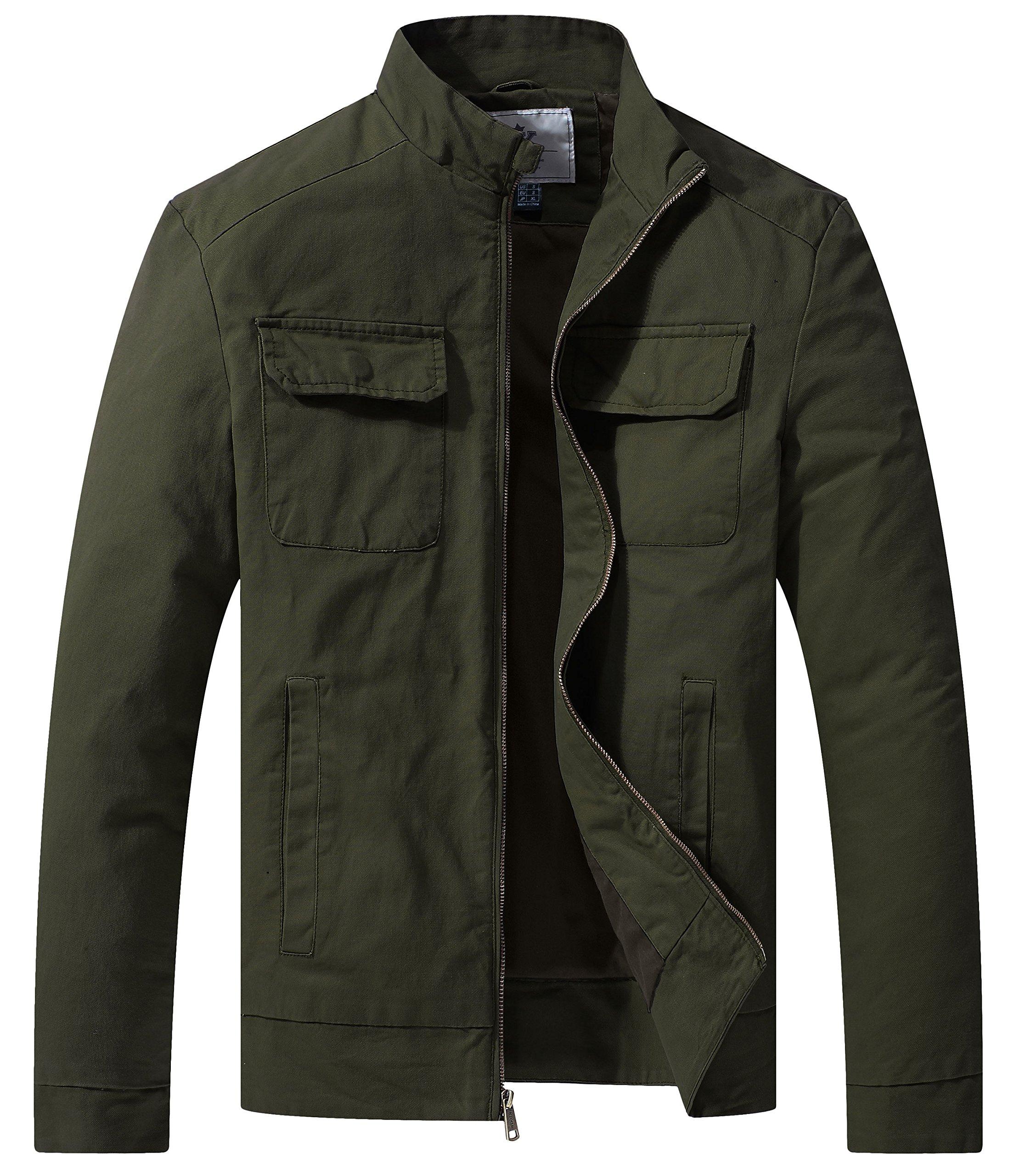 WenVen Men's Fall Casual Army Lightweight Jacket(Army Green,Medium)