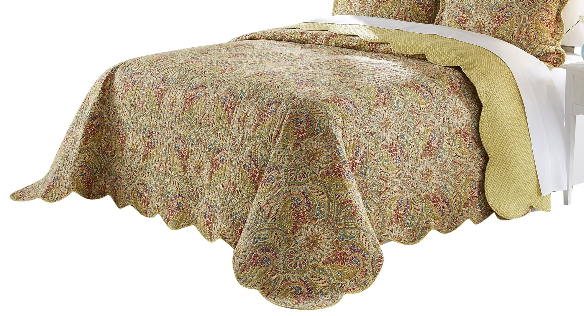 Waverly Swept Away Bedspread Collection, 96''x110'', Berry