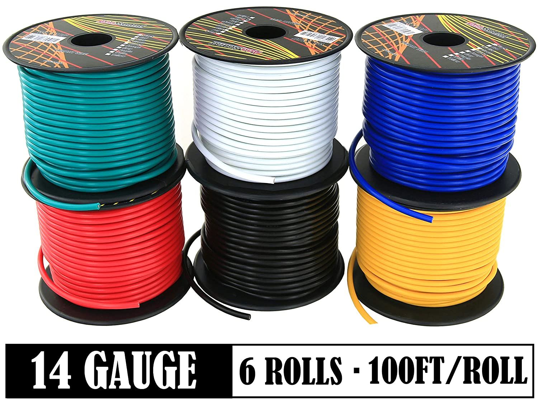 GS Power/'s 16 Gauge Ga Car Audio Video Primary Rolls Of 100 Feet total 600 Ft