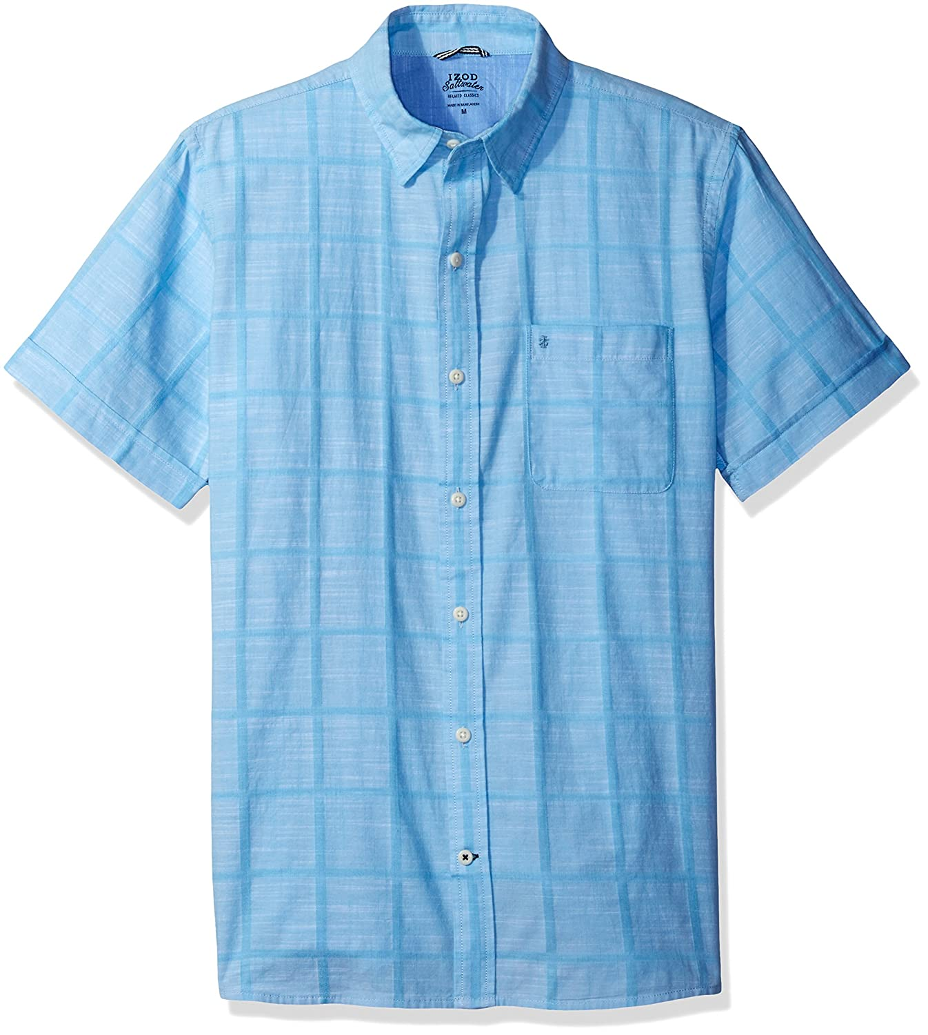 Izod Men's Saltwater Dockside Chambray Windowpane Short Sleeve Shirt IZOD Men's Sportswear 82SW745
