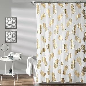 "Lush Decor Pineapple Toss Shower Curtain, 72"" x 72"", Gold"