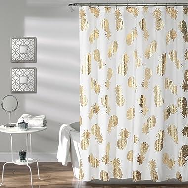 Lush Decor Pineapple Toss Shower Curtain, 72  x 72 , Gold