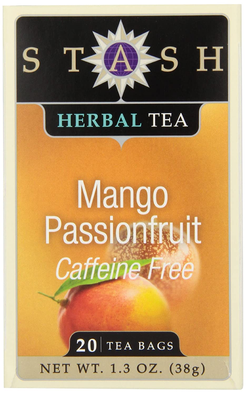 Stash Tea Mango Passionfruit Herbal Tea 20 Count Tea Bags in Foil (Pack of 6) Individual Herbal Tea Bags for Use in Teapots Mugs or Cups, Brew Hot Tea or Iced Tea