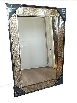 Elegant Miroir Moderne Avec Cadre Dore A Paillettes Pour Salon