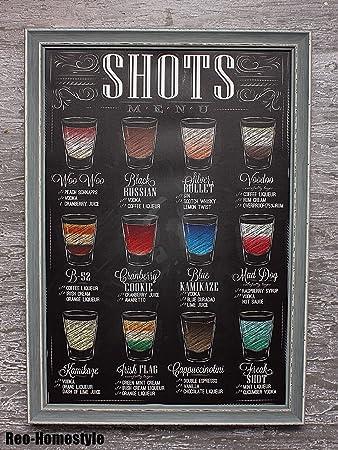 Amazon.de: Wandbild Bild Holzrahmen Deko Shots Getränke Alkohol ...