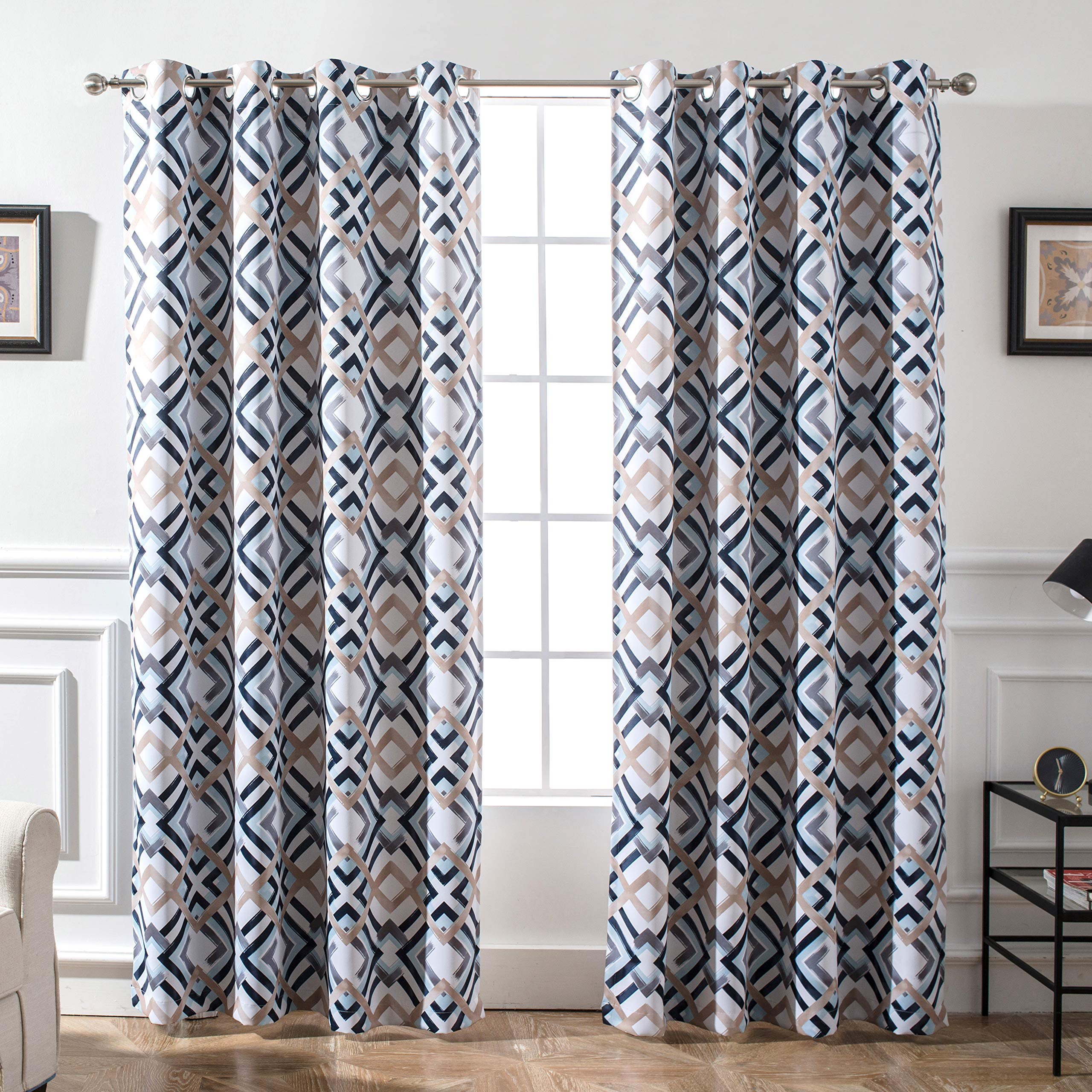 DriftAway Diamond Trellis Watercolor Geometric Checker Plaid Pattern Blackout Room Darkening Unlined Thermal Insulated Grommet Window Curtains Set 2 Panels 52 Inch by 84 Inch Header Navy by DriftAway