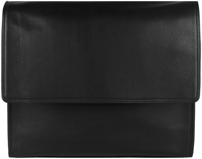 'Marten' Maletín (mensajero) hecho a mano de piel de ante engrasada o piel de napa, el color:Negro