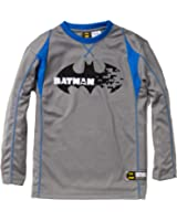 "Batman Boys Long Sleeve Crew Neck Ringer Jersey w/ Embroidered ""Batman"""