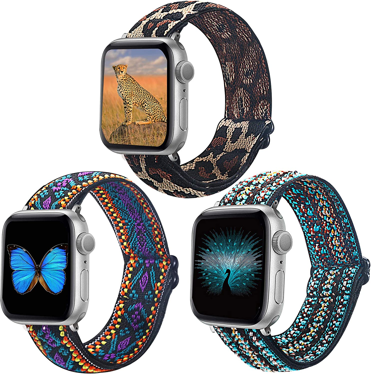 Dsytom Adjustable Elastic Band Compatible with Apple Watch Bands 38mm 40mm 42mm 44mm Stretchy Soft Strap Women Replacement Wristband for iWatch Series SE/6/5/4/3/2/1 bands