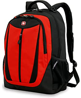 Swiss Gear SA3077 Black with Red Lightweight Laptop Backpack - Fits Most 15 Inch Laptops and