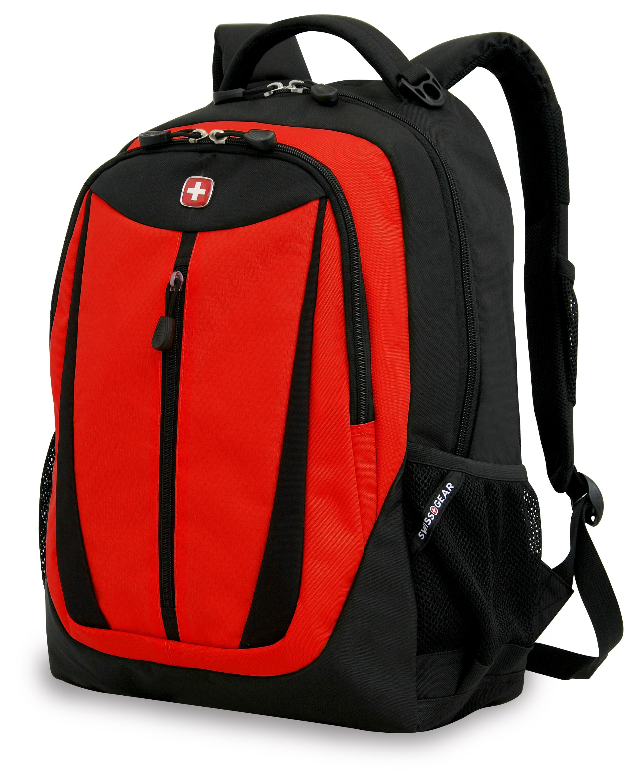 Swiss Gear SA3077 Black with Red Lightweight Laptop Backpack - Fits Most 15 Inch Laptops and Tablets by Swiss Gear