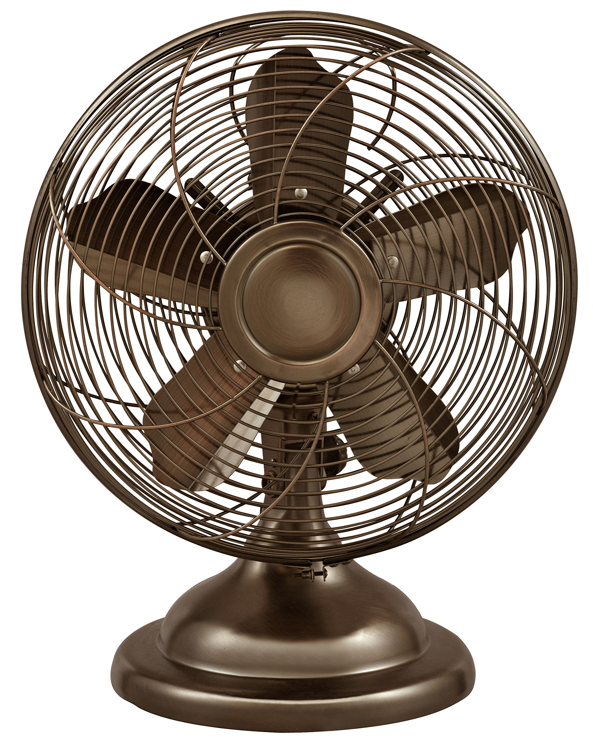 Optimus F-6212 Oscillating Antique Table Fan, 12-Inch, Bronze by Optimus