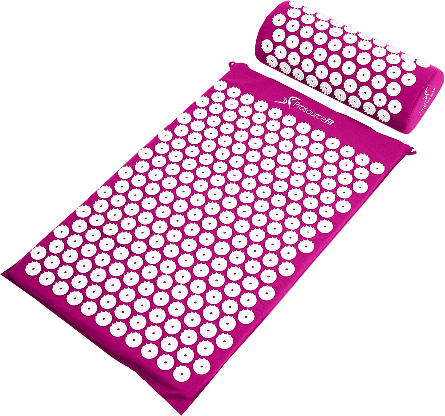 Acupressure Mat and Pillow Set for Back/Neck Pain Relief and Muscle Relaxation - Purple