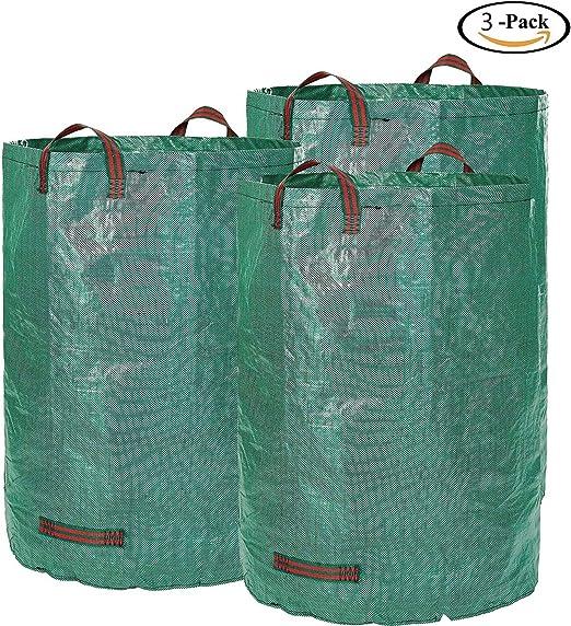 Bolsa para jardín de 3 envases, 72 galones Cesta para césped, césped, hierba Contenedor de basura,