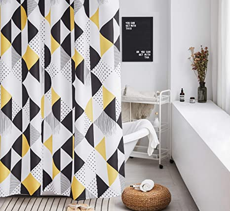 Yellow Shower Curtain Set White Geometric Bathroom Fabric Shower Curtain Heavy Duty Curtains For Bathtubs Colorful Cute 72 By72 Inch White Black Yellow Amazon Ca Home Kitchen