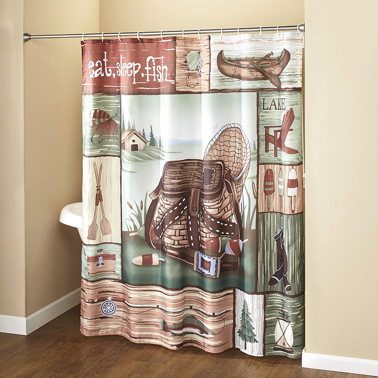 The Lakeside Collection Gone Fishing Shower Curtain with Hooks - Rustic Bathroom Decor