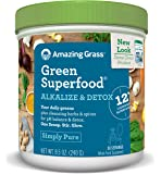 Amazing Grass Green Superfood Alkalize & Detox Powder, 30 Servings, 8.5oz, pH Balance, Spirulina, Alfalfa, Turmeric Root, Goji, Acai, Probiotic, Digestive Enzyme, greens, vitamins, vegan