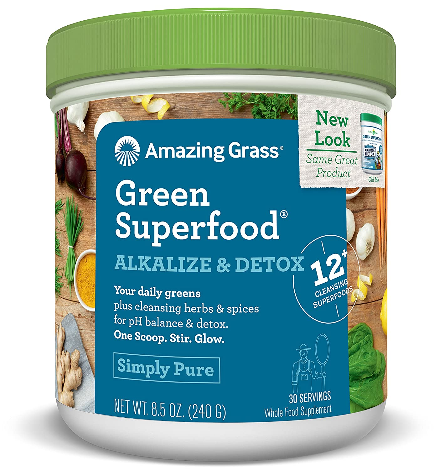 Amazing Grass Green SuperFood Alkalize and Detox, 8.5 Ounce