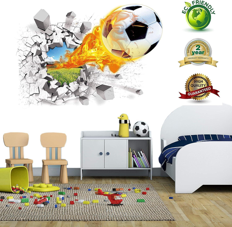 Vinilo de pared de fútbol 3D para habitaciones de niños