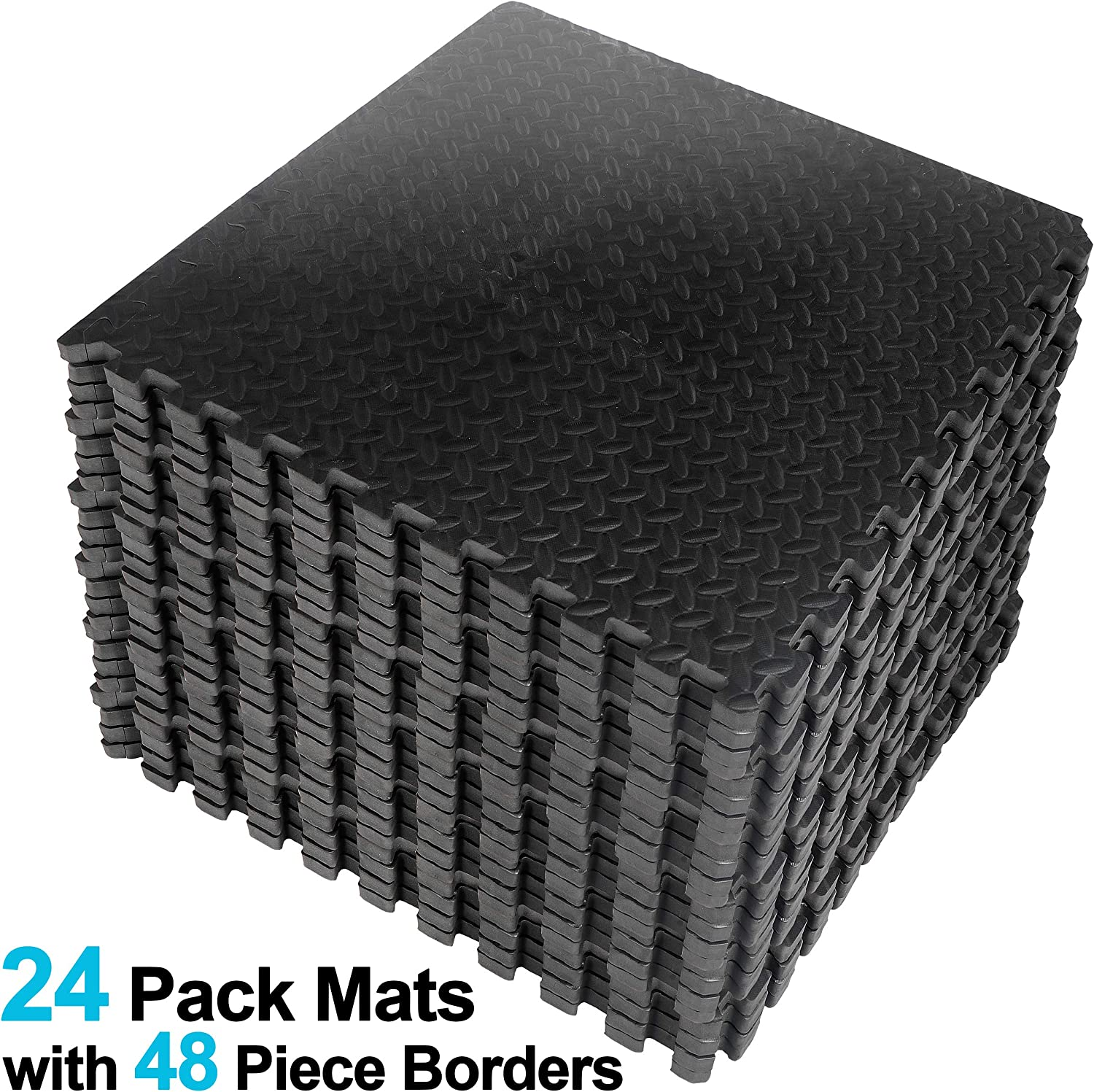 ZENY Exercise Mat with EVA Foam Interlocking Tiles and Edge Pieces Extra Think 3//4/'/' for Exercise 24 Tiles,48 Borders MMA Gymnastics and Home Gym Yoga and Floor Protection 96 SQ.FT