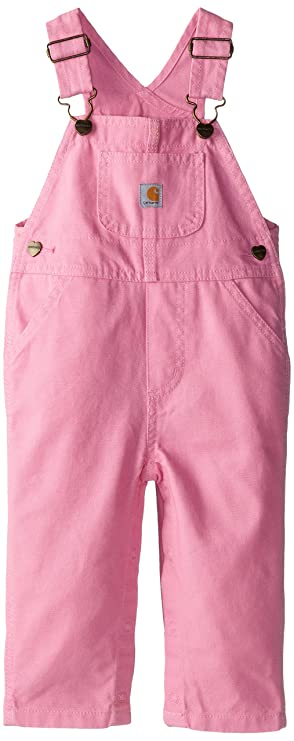 Carhartt Little Girls' Washed Miscrosanded Canvas Bib Overall, Pink, 4 best girls' overalls